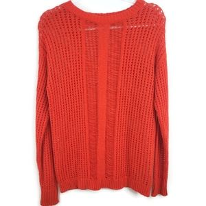 Two by Vince Camuto Open Drop Stitch Red Sweater